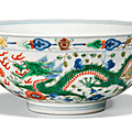 A Chinese wucai 'Dragon and Phoenix' bowl, Daoguang six-character seal mark in underglaze blue and of the period (1821-1850)