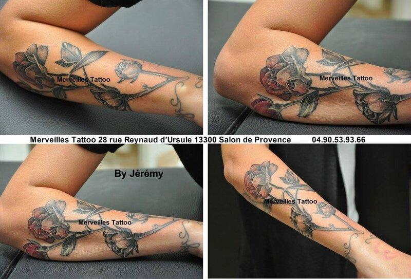 tattoo rose, avant bra, tatoueur bouches du rhone
