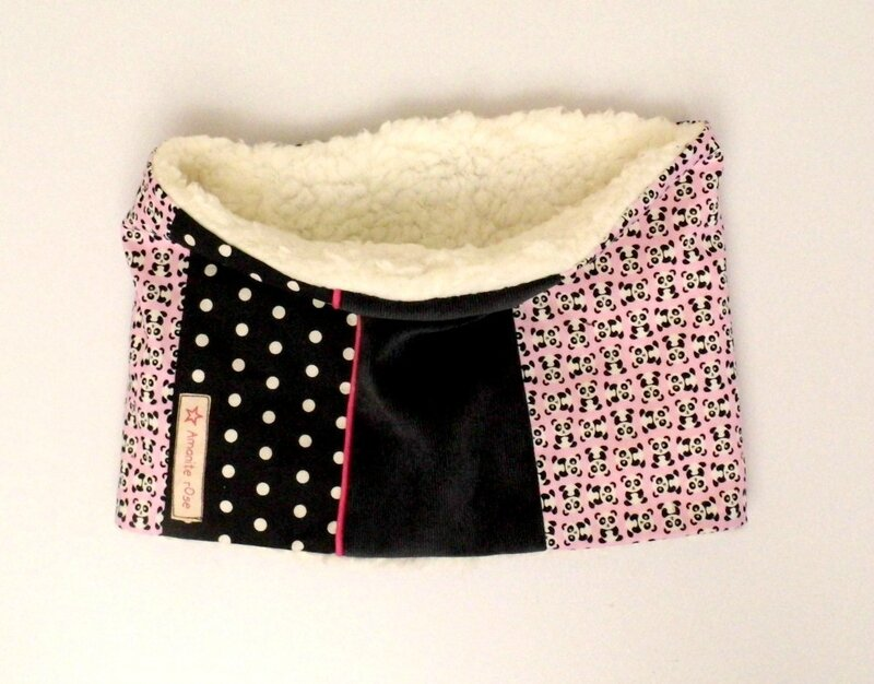 Snood fille panda rose et noir