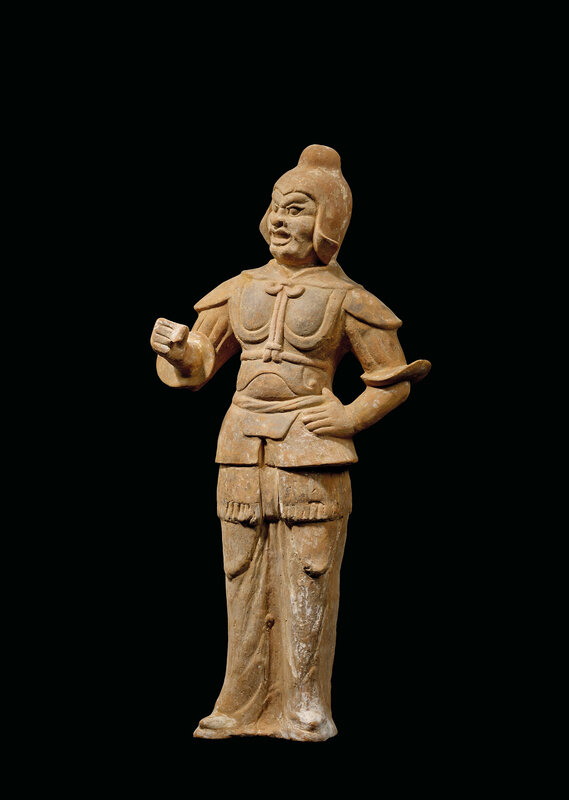 A pottery figure of a guardian, Tang dynasty (618-907)