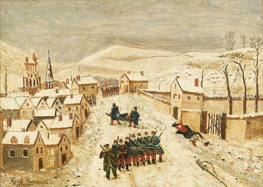 Rousseau, paysage d'hiver avec scène de guerre