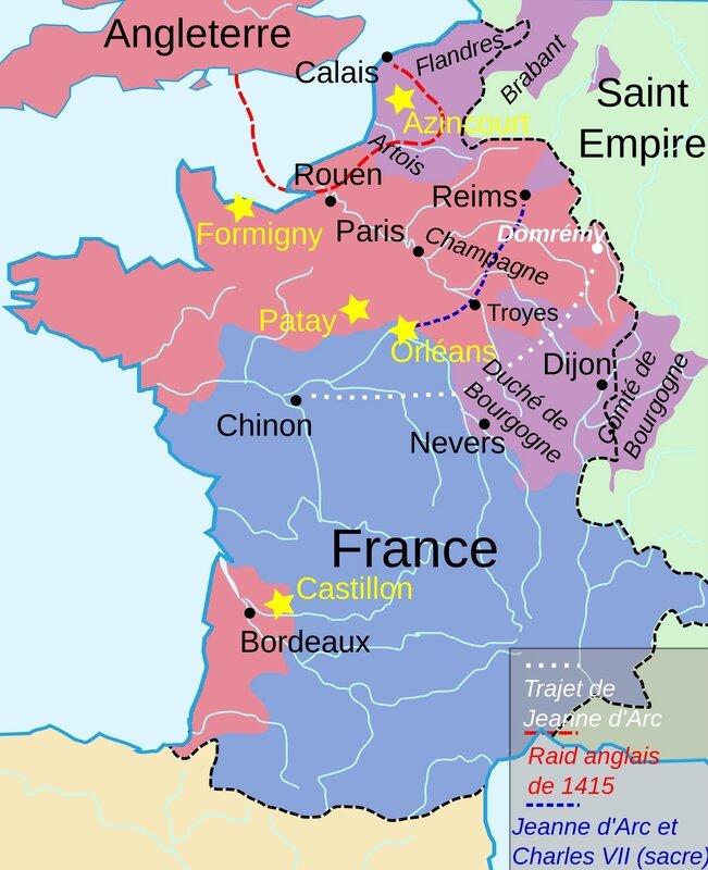 France et trajets Jeanne d'Arc