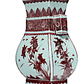 A copper-red-decorated fanghu-form vase, 18th century