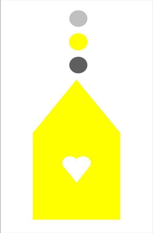 stickers nichoir jaune gris blanc