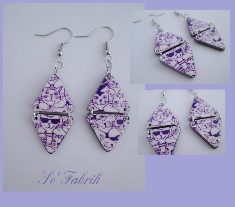 BOUCLES chats silk-violet triangles doubles