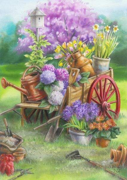 Charette fleurie