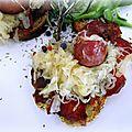 Tartines grillées à la choucroute, aux saucisses et au jambon de savoie
