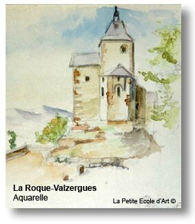 Aquarelle La Roque Valzergues