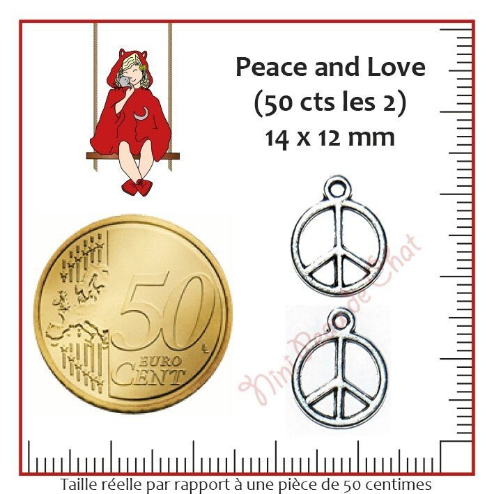 Peace and Love 14 x 12 mm