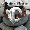 Marron touché daim et étoile argentées diffuses pour le cuir de ce bracelet double tour et son gros fermoir toggle rond ! qu'en