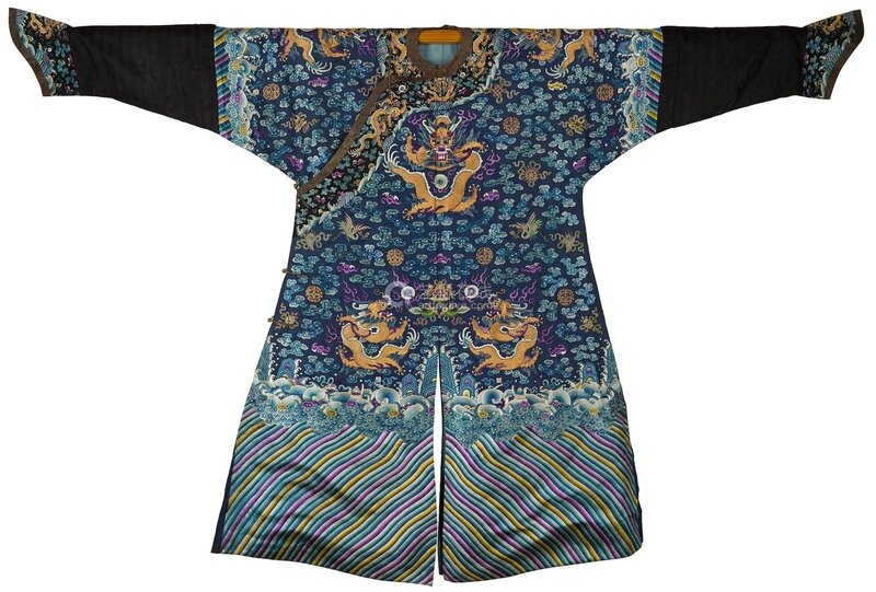 A blue silk embroidered 'Dragon' robe, 19th century