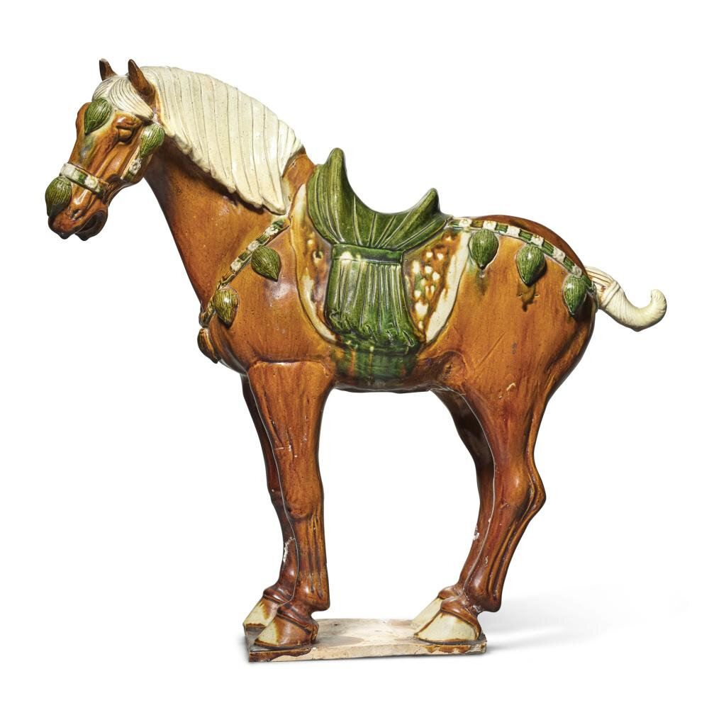 A sancai-glazed harnessed horse, Tang dynasty (618-907)