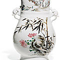 A large famille rose vase, fanghu, circa 1900