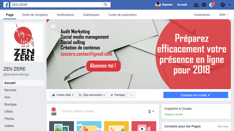 page-facebook-zenzere-marketing-digital-design-cameroun