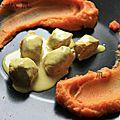 ▲▼ défi légumes exotiques : purée de patates douces accompagnée d'un curry de poulet au lait de coco ▲▼