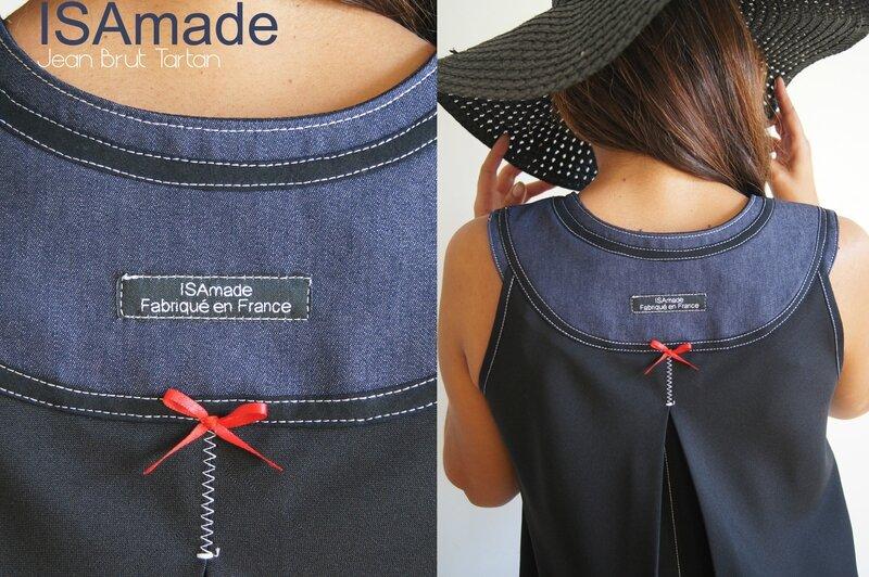 Une robe trapèze Noire et Jean Brut à tartan écossais au look Géométrique et de style Sixties