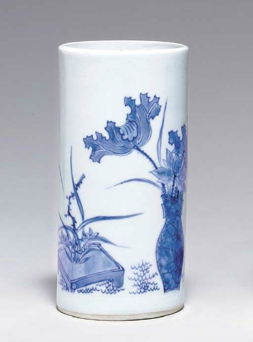A small blue and white brushpot, bitong, Transitional period, ca
