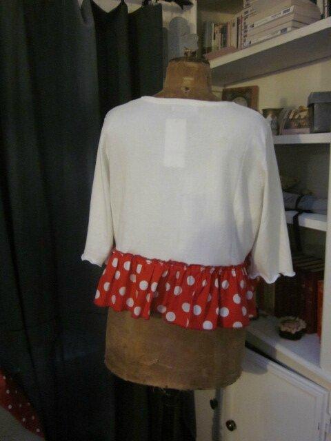 Cardigan GRETA en coton blanc et volant de popeline rouge à pois blancs (1)