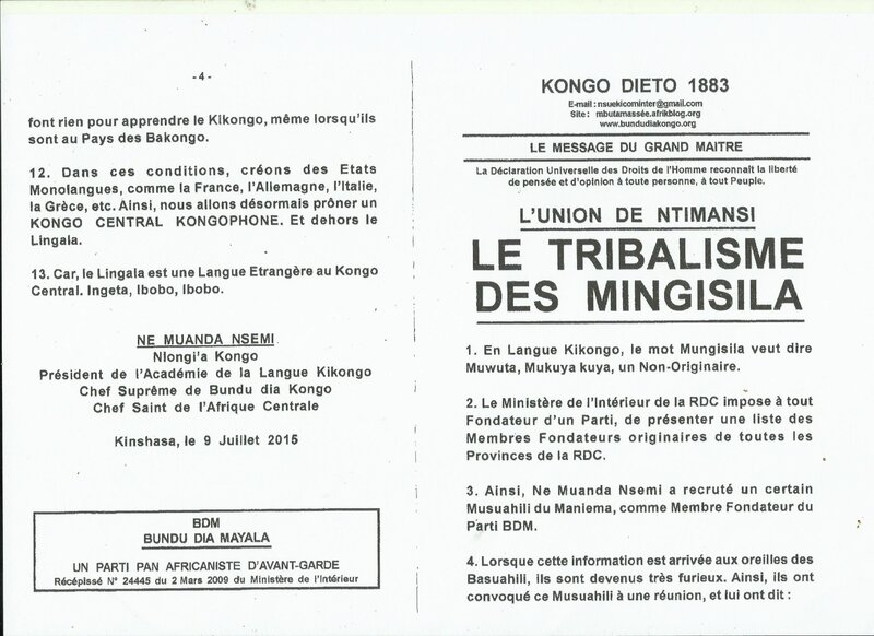 LE TRIBALISME DES MINGISILA a