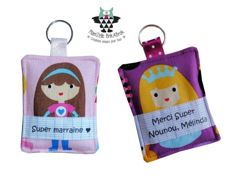 Porte clés Mélinda et Super marraine