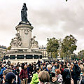 Enorme manifestation place de la bastille à paris contre le harcellement