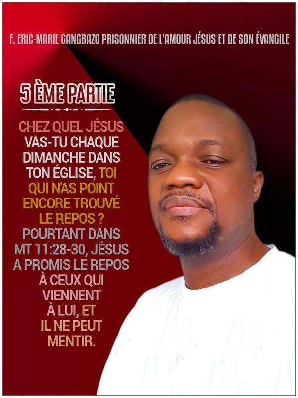 5️⃣ ÈME PARTIE : CHEZ QUEL JÉSUS VAS-TU CHAQUE DIMANCHE DANS TON ÉGLISE, TOI QUI N'AS POINT ENCORE TROUVÉ LE REPOS ❓