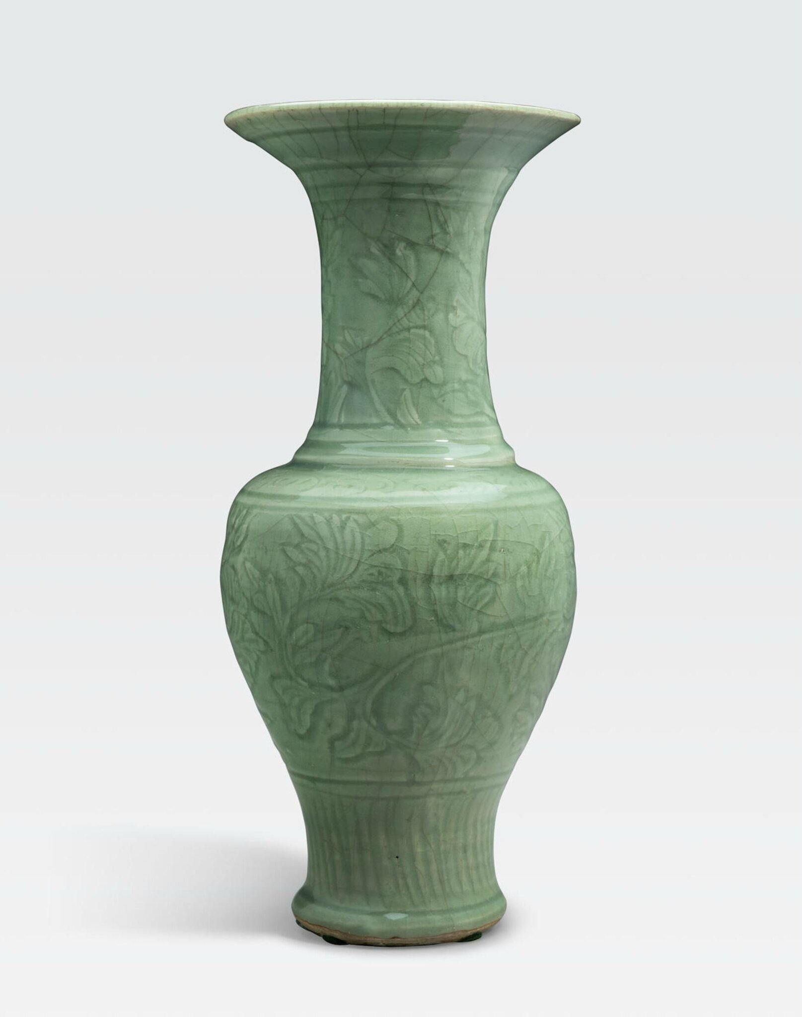 A Longquan trumpet-neck vase with incised decoration, Ming dynasty (1368-1644)