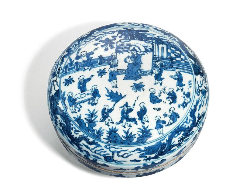 A blue and white 'hundred boys' circular box and cover, Wanli six-character mark in underglaze blue within a double circle and of the period (1573-1619)