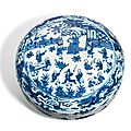 A blue and white 'hundred boys' circular box and cover, Wanli six-character mark in underglaze blue within a
