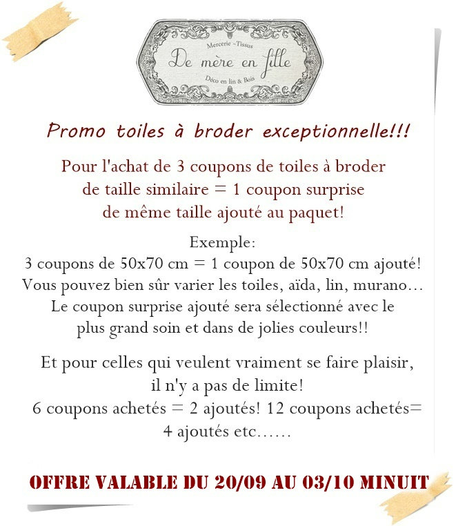 offre toiles à broder sept 2021