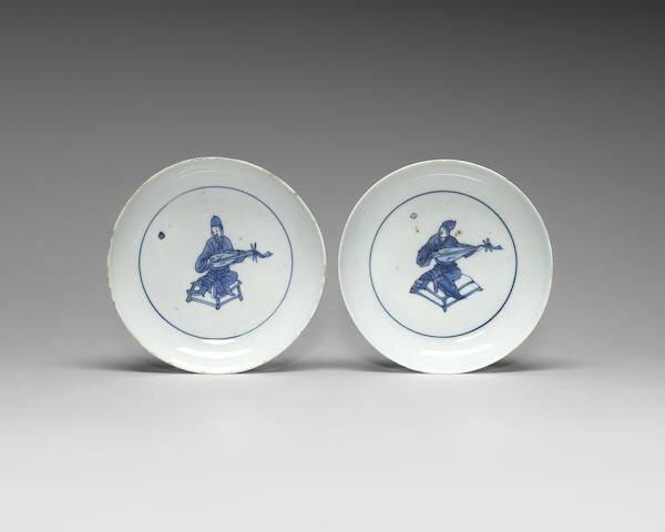 A pair of blue and white saucer dishes, 16th-17th century