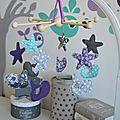 mobile éveil bébé baleine turquoise violet gris étoiles - décoration chambre bébé baleines étoiles turquoise violet gris