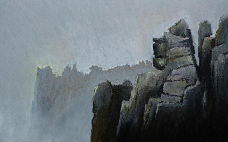 Brume dans les rochers à Pern, Ouessant, pastel à l'huile, 48 x 32 cm, septembre 2020