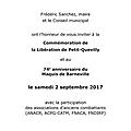 Commémoration de la libération de petit-quevilly et du maquis de barneville, samedi 2 septembre