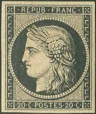 Timbre français 20c noir 1849