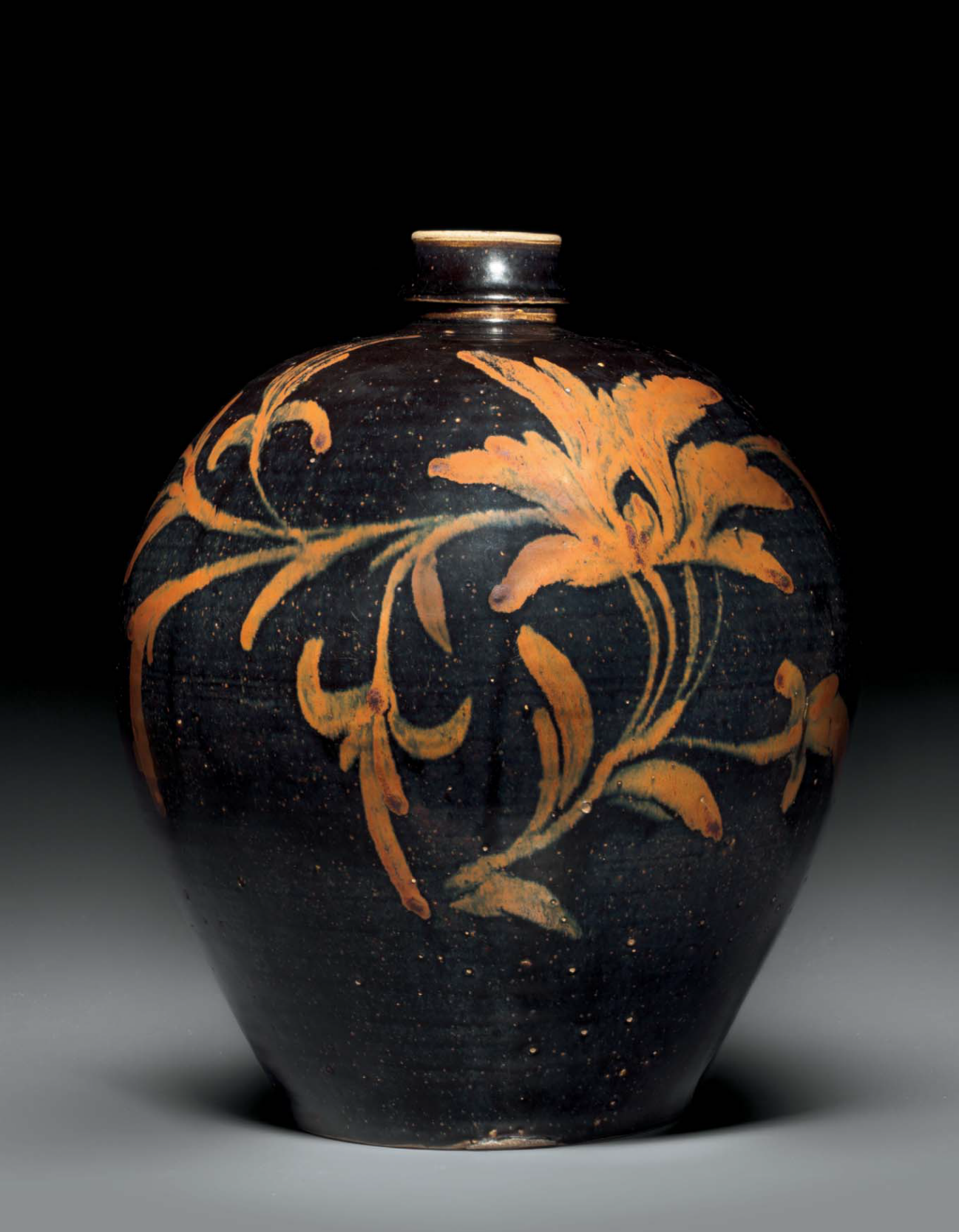 A very rare large Cizhou-type russet-painted black-ground ovoid jar, xiaokou ping, China, Jin-Yuan dynasty, 13th century