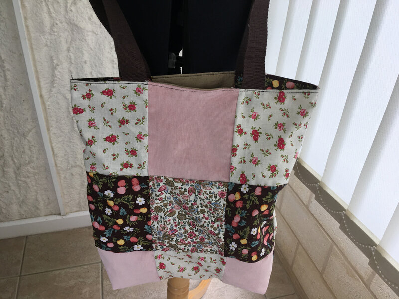 tote bag reversible patchwork tons brun rose modele funky sunday 1