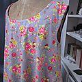 Robe EUPHRASIE en coton gris imprimé fleur et oiseaux rose vert et jaune (6)