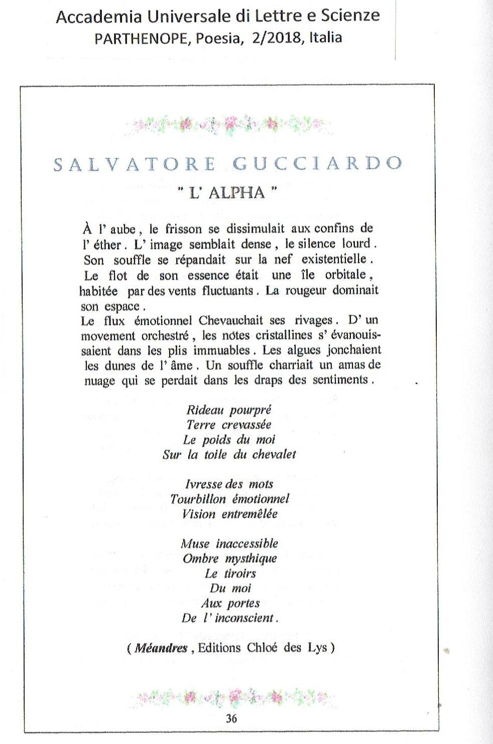 Publication Dun Poème De Sgucciardo Editions Chloé Des Lys