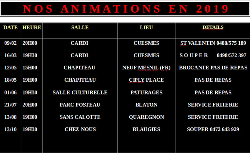 Nos animations 2019