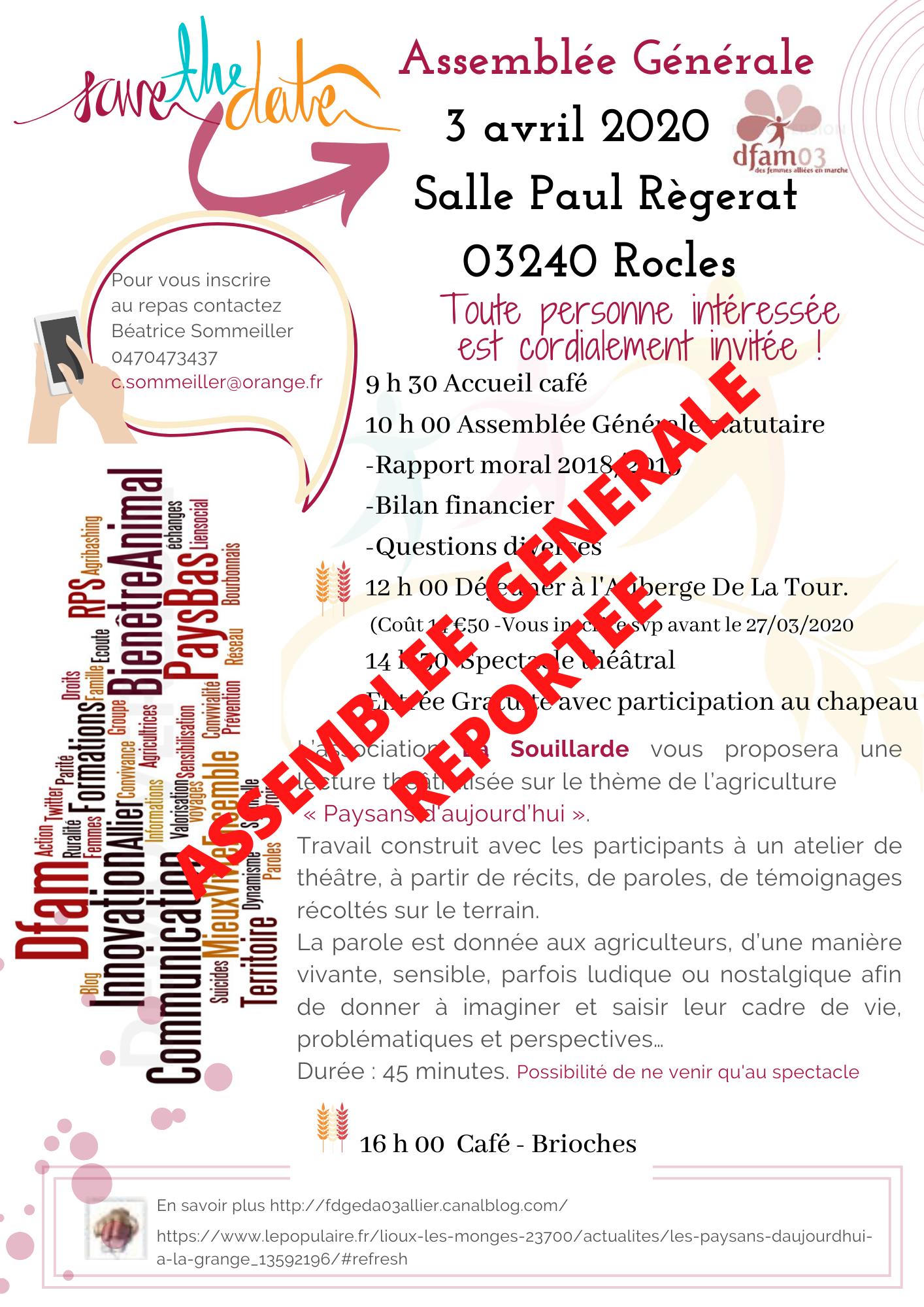 Assemblée Générale REPORTÉE
