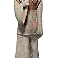 A grey pottery figure of a dignitary, western wei dynasty (ad 535-556)