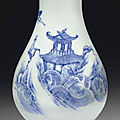 A blue and white pear-shaped vase, transitional period, circa 1645-1655