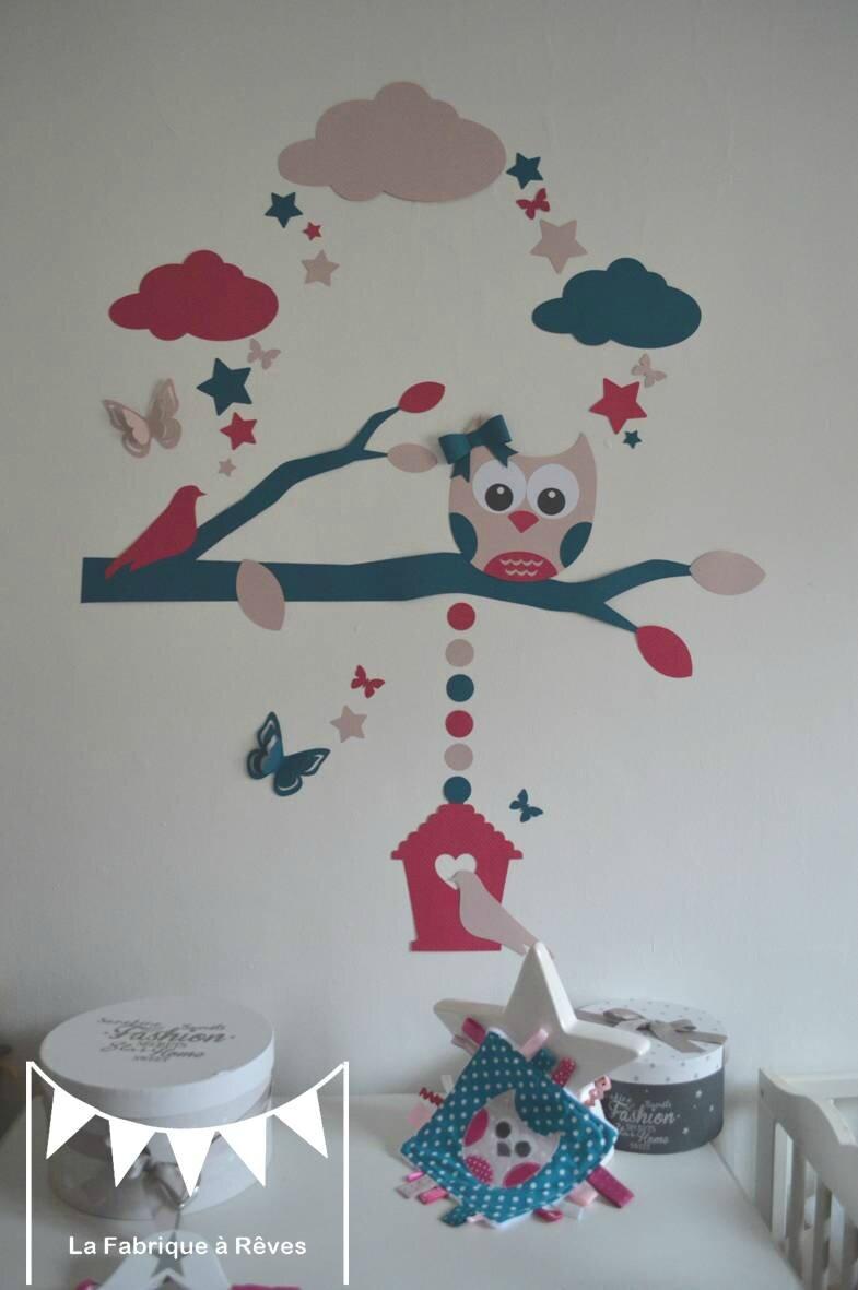 stickers hibou chouette arbre nichoir oiseaux papillons étoiles bleu canard pétrole fuchsia rose poudré