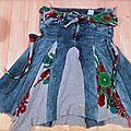 Recyclage de jeans en jupe.
