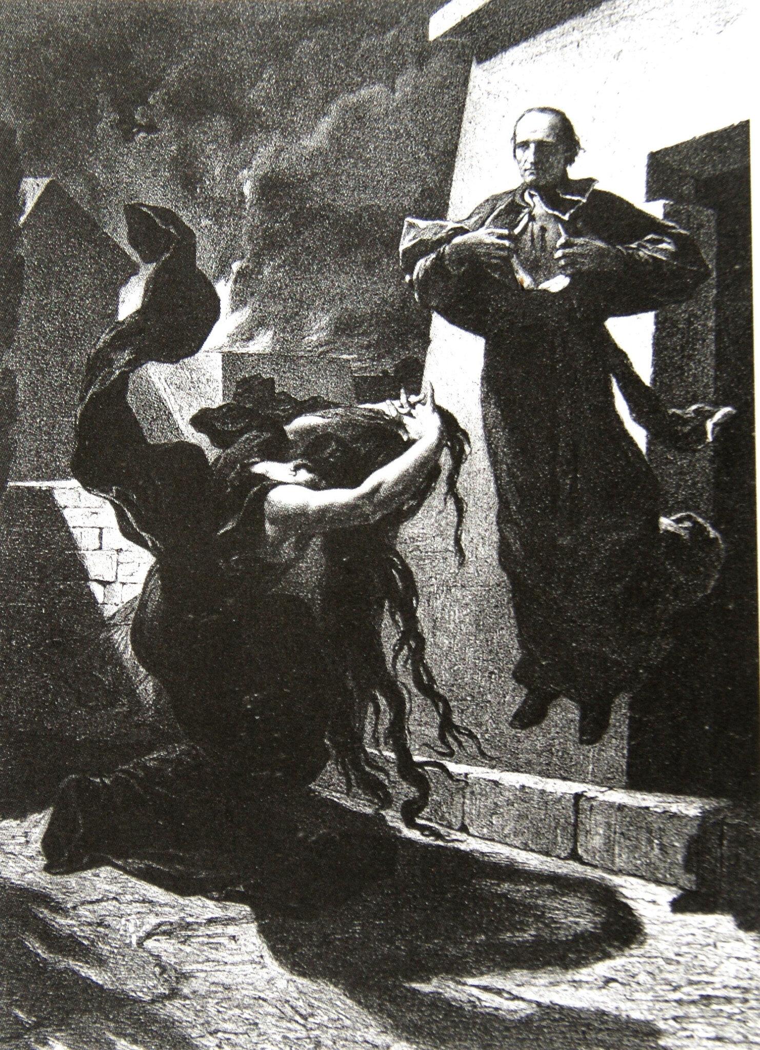Laurens, l'église en deuil, litho 1871