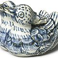 A blue and white 'Double-Duck' form water dropper and cover, Ming dynasty, 15th-16th century