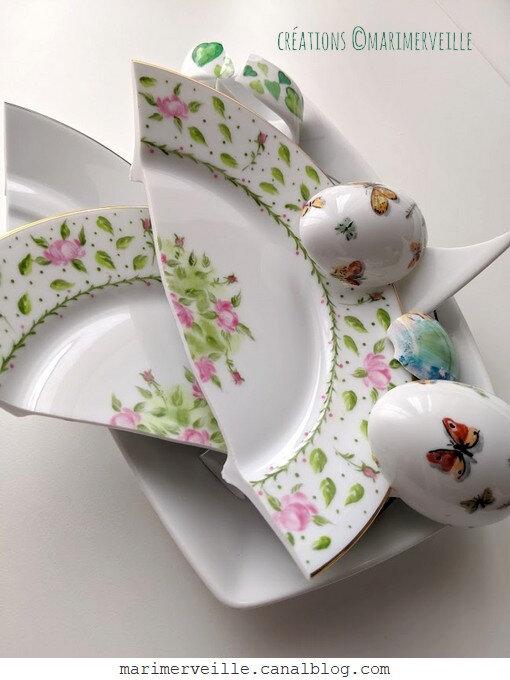 vaisselle peinte à la main cassée - marimerveille - atelier mosaïque