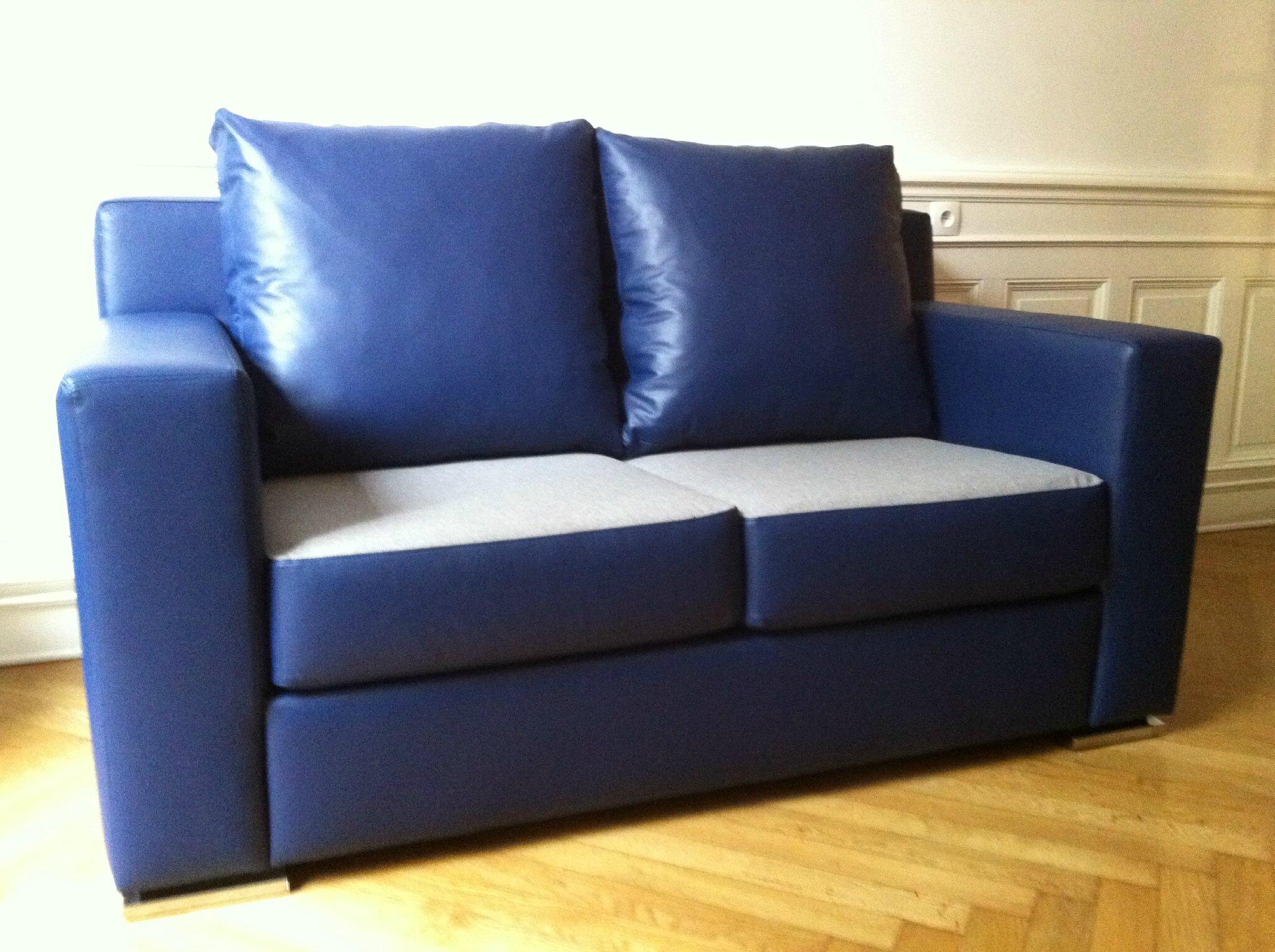 Canapé Cuir Bleu2