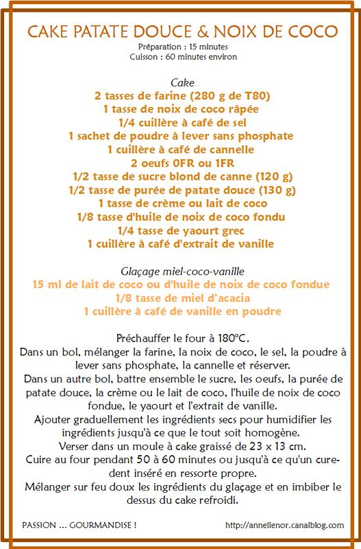 Cake patate douce & noix de coco_fiche